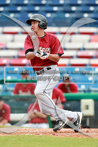 Houston Astros minor leaguer Jiovanni Mier during a game vs. the Chinese National Team in an Instructional leaguer game at Holman Stadium in Vero Beach, Florida September 28, 2010.   Photo By Mike Janes/Four Seam Images