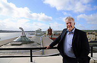 Mirst Minister for Wales Carwyn Jones on the balcony of his office at the Ty Hywel building, overlooking Cardiff Bay, Wales, UK. Wednesday 13 September 2017