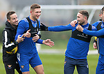 St Johnstone Training…<br />Liam Gordon pictured having fun with his team mates and coach Steven MacLean during training at McDiarmid Park ahead of tomorrow's Betfred Cup game against Peterhead.<br />Picture by Graeme Hart.<br />Copyright Perthshire Picture Agency<br />Tel: 01738 623350  Mobile: 07990 594431