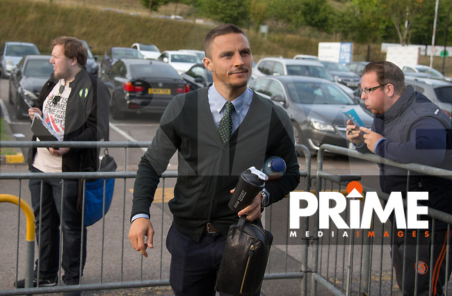 Sam Saunders of Wycombe Wanderers arrives during the Carabao Cup 2nd round match between Wycombe Wanderers and Forest Green Rovers at Adams Park, High Wycombe, England on 28 August 2018. Photo by Kevin Prescod.