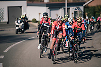 Sonny Colbrelli (ITA/Bahrain-Merida), Mads Pedersen (DEN/Trek-Segafredo) & Tiesj Benoot (BEL/Lotto-Soudal) at the front of the peloton<br /> <br /> 70th Kuurne-Brussel-Kuurne 2018<br /> Kuurne › Kuurne: 200km (BELGIUM)