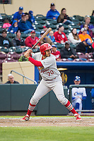 Alex Meija (70) of the Memphis Redbirds at bat against the Omaha Storm Chasers in Pacific Coast League action at Werner Park on April 24, 2015 in Papillion, Nebraska.  (Stephen Smith/Four Seam Images)
