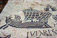 Italy: Ostia--Mosaic, Corporation Floor. Roman warship freighter with rounded bow and standard rig. Photo '83.