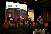 Debat sur l'économie, au Cercle canadien de Montréal, le 1er Jjuin 2015.<br /> <br /> <br /> <br /> Montreal, canada, June 1st 2015.<br /> <br /> Pierre Gabriel Cote, President and CEO, Investissement Quebec (L).<br /> Jean-Rene Halde, President and CEO, Business Development Bank of Canada (M-L),<br /> Christian Dube , Executive Vice-President, Quebec, Caisse de Depot et Placement du Quebec (M-R) and<br /> Jean-Philippe Decarie, Business columnist, La Presse <br /> take part in a debate about Quebec's economy, at the Canadian Club of Montreal, June 1st 2015.<br /> <br /> Photo : Pierre Roussel - Agence Quebec Presse