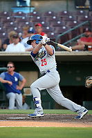 Omar Estevez (25) of the Rancho Cucamonga Quakes bats against the Inland Empire 66ers at San Manuel Stadium on July 9, 2017 in San Bernardino, California. Inland Empire defeated Rancho Cucamonga 12-2. (Larry Goren/Four Seam Images)