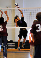 5 November 2011: The Vermont Commons School hosts the 2011 Vermont State Volleyball Championships at Johnson State College in Johnson, Vermont. Participating in the tournament were the Enosburg Falls Hornets, the Lake Region Union Rangers, the Lyndon Institute Vikings, the Mid Vermont Christian School Eagles and the VCS Flying Turtles. The Mid Vermont Christian School Eagles won the girls championship, while the Enosburg Falls Hornets took the victory for the boys. Mandatory Credit: Ed Wolfstein Photo.