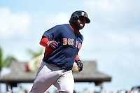 Boston Red Sox third baseman Pablo Sandoval (48) runs the bases after hitting a home run during a Spring Training game against the Pittsburgh Pirates on March 12, 2015 at McKechnie Field in Bradenton, Florida.  Boston defeated Pittsburgh 5-1.  (Mike Janes/Four Seam Images)