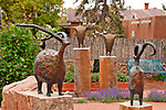 Sculptures by Jill Shwaiko in front of Carole La Roche Gallery on Canyon Road in Santa Fe, New Mexico