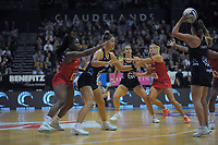 England's Razia Quashie and NZ's Maia Wilson compete for the ball during the Cadbury Netball Series Taini Jamison Trophy match between New Zealand Silver Ferns and England Roses at Claudelands Arena in Hamilton, New Zealand on Wednesday, 28 October 2020. Photo: Dave Lintott / lintottphoto.co.nz