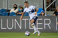 SAN JOSE, CA - AUGUST 13: Caio Alexandre #8 of the Vancouver Whitecaps dribbles the ball during a game between San Jose Earthquakes and Vancouver Whitecaps at PayPal Park on August 13, 2021 in San Jose, California.