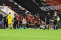 AFC Bournemouth players and match officials prepare for the penalty shoot out during AFC Bournemouth vs Crystal Palace, Carabao Cup Football at the Vitality Stadium on 15th September 2020