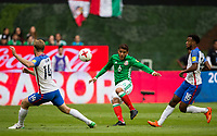 Mexico City, Mexico - Sunday June 11, 2017: Tim Ream, Jonathan dos Santos and Kellyn Acosta during a 2018 FIFA World Cup Qualifying Final Round match between the men's national teams of the United States (USA) and Mexico (MEX) at Azteca Stadium.