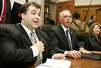 Quebec City ? March 29, 2007. Trois-Riviere MNA and official opposition leader Sebastien Proux (left) and president of the caucus and Blainville MNA Pierre Gingras (right) wait for the beginning of the ADQ caucus at the National Assembly in Quebec City March 29, 2007.  ADQ went from 5 MNA to 41, and many of them will have to learn the trick of the trade.<br /> <br /> PHOTO :  Francis Vachon - Agence Quebec Presse