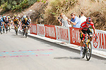 Red Jersey Primoz Roglic (SLO) Jumbo-Visma attacks from the peloton on the final climb only to crash on the descent during Stage 10 of La Vuelta d'Espana 2021, running 189km from Roquetas de Mar to Rincón de la Victoria, Spain. 24th August 2021.     <br /> Picture: Luis Angel Gomez/Photogomezsport   Cyclefile<br /> <br /> All photos usage must carry mandatory copyright credit (© Cyclefile   Luis Angel Gomez/Photogomezsport)