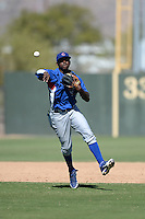 Chicago Cubs shortstop Frandy De La Rosa (63) during an Instructional League game against the Oakland Athletics on October 16, 2013 at Papago Park Baseball Complex in Phoenix, Arizona.  (Mike Janes/Four Seam Images)