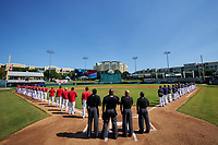 General view of the National Anthem before the Baseball Factory All-Star Classic at Dr. Pepper Ballpark on October 4, 2020 in Frisco, Texas.  (Ken Murphy/Four Seam Images)