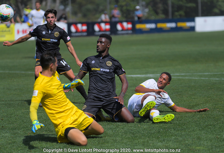 Joao Moreira watches his rebound sit up for a second attempt during the ISPS Handa Premiership football match between Team Wellington and Eastern Suburbs at David Farrington Park in Wellington, New Zealand on Sunday, 1 March 2020. Photo: Dave Lintott / lintottphoto.co.nz