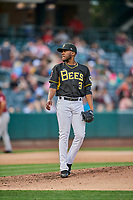Akeel Morris (3) of the Salt Lake Bees delivers a pitch to the plate against the Sacramento River Cats at Smith's Ballpark on May 17, 2018 in Salt Lake City, Utah. Salt Lake defeated Sacramento 12-11. (Stephen Smith/Four Seam Images)
