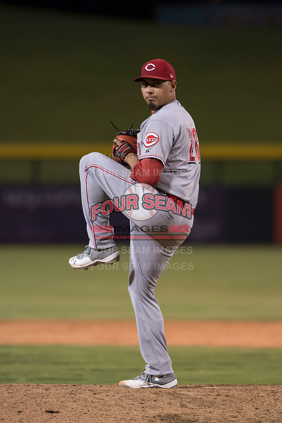 AZL Reds starting pitcher Daniel De La Fuente (26) delivers a pitch during an Arizona League game against the AZL Cubs 1 at Sloan Park on July 13, 2018 in Mesa, Arizona. The AZL Cubs 1 defeated the AZL Reds 4-1. (Zachary Lucy/Four Seam Images)