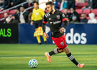WASHINGTON, DC - MARCH 07: Junior Moreno #5 of DC United on the ball during a game between Inter Miami CF and D.C. United at Audi Field on March 07, 2020 in Washington, DC.