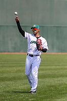 Beloit Snappers outfielder Victor Victor Mesa (5) warms up in the outfield prior to a game against the Quad Cities River Bandits on July 18, 2021 at Pohlman Field in Beloit, Wisconsin.  (Brad Krause/Four Seam Images)