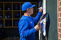 Kentucky Wildcats head coach Nick Mingione updates the lineup card prior to the game against the North Carolina Tar Heels at Boshmer Stadium on February 17, 2017 in Chapel Hill, North Carolina.  The Tar Heels defeated the Wildcats 3-1.  (Brian Westerholt/Four Seam Images)