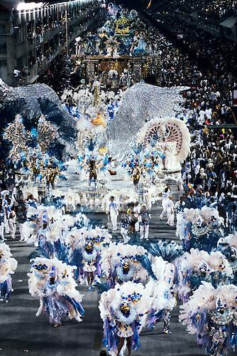 Rio de Janeiro, Brazil. Carnival, Samba school; overview of sambadrome in blue white and gold with the Portela bird.