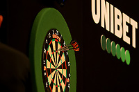 26th May 2021; Marshall Arena, Milton Keynes, Buckinghamshire, England; Professional Darts Corporation, Unibet Premier League Night 15 Milton Keynes; Dimitri Van den Bergh throws a 180 against James Wade