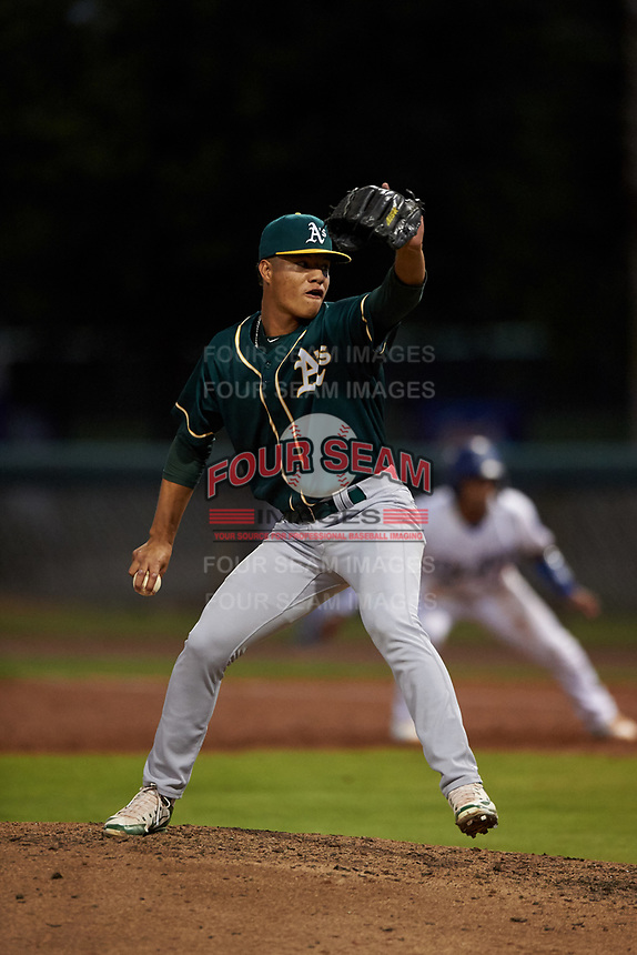 AZL Athletics Green relief pitcher Luis Martinez (46) during an Arizona League game against the AZL Dodgers Lasorda at Camelback Ranch on June 19, 2019 in Glendale, Arizona. AZL Dodgers Lasorda defeated AZL Athletics Green 9-5. (Zachary Lucy/Four Seam Images)