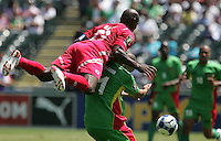 Felipe Baloy (23) falls over Mickael Antoine-Curier (11). Guadeloupe defeated Panama 2-1 during the First Round of the 2009 CONCACAF Gold Cup at Oakland Coliseum in Oakland, California on July 4, 2009.