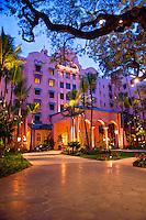 The world famous Royal Hawaiian Hotel on Waikiki Beach, Honolulu.