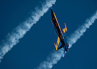 """121014-N-DR144-981 SAN DIEGO (October 14, 2012)- F/A-18C Hornets assigned to the U.S. Navy flight demonstration squadron, the Blue Angels, perform during the Marine Corps Air Station Miramar 2012 Air Show. The air show, held October 12-14, was themed """"Marines In Flight: Celebrating 50 Years of Space Exploration."""" (U.S. Navy photo by Mass Communication Specialist 1st Class James R. Evans / RELEASED)"""