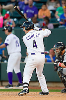 Chris Curley (4) of the Winston-Salem Dash at bat against the Carolina Mudcats at BB&T Ballpark on April 13, 2013 in Winston-Salem, North Carolina.  The Dash defeated the Mudcats 4-1.  (Brian Westerholt/Four Seam Images)