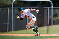 Dartmouth Big Green left fielder Dustin Shirley (6) steals second base during a game against the Villanova Wildcats on March 3, 2018 at North Charlotte Regional Park in Port Charlotte, Florida.  Dartmouth defeated Villanova 12-7.  (Mike Janes/Four Seam Images)