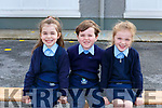 First cousins Lauren, Ryan and Lucy Moriarty who started school junior infants in Scoil Mhuire and Naomh Treasa Currow on Monday