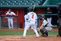 Lansing Lugnuts shortstop Otto Lopez (2) during a Midwest League game against the Wisconsin Timber Rattlers at Cooley Law School Stadium on May 1, 2019 in Lansing, Michigan. Wisconsin defeated Lansing 8-3 after the game was suspended from the previous night. (Zachary Lucy/Four Seam Images)