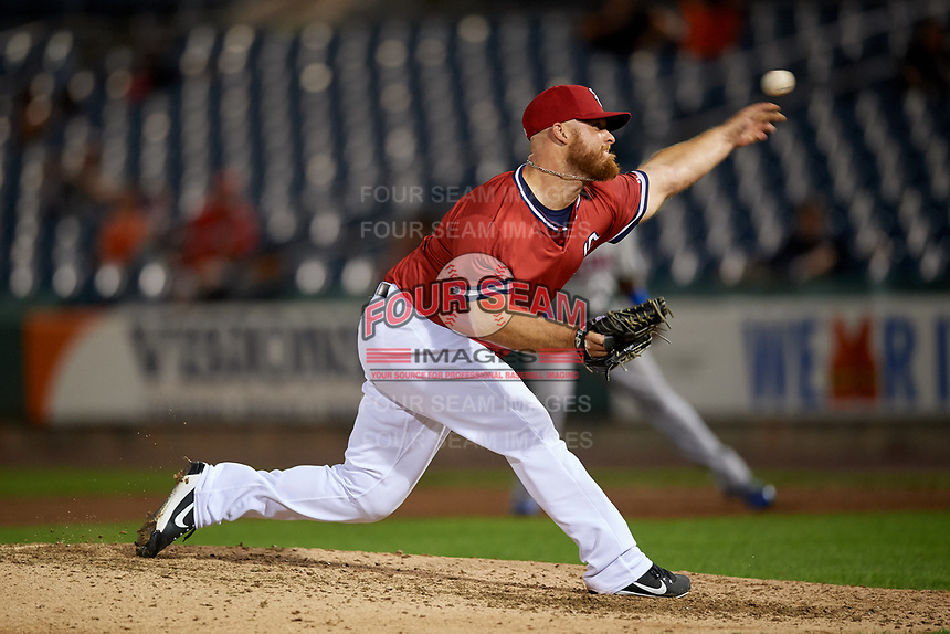 Syracuse Chiefs relief pitcher Josh Edgin (27) delivers a pitch during a game against the Buffalo Bisons on September 2, 2018 at NBT Bank Stadium in Syracuse, New York.  Syracuse defeated Buffalo 4-3.  (Mike Janes/Four Seam Images)