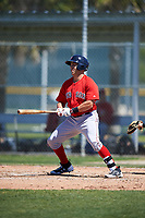 Boston Red Sox Mike Olt (20) bats during a minor league Spring Training game against the Baltimore Orioles on March 16, 2017 at the Buck O'Neil Baseball Complex in Sarasota, Florida. (Mike Janes/Four Seam Images)