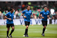 Mexico City, Mexico - Sunday June 11, 2017: William Torres, Joel Aguilar, Juan Zumba during a 2018 FIFA World Cup Qualifying Final Round match with both men's national teams of the United States (USA) and Mexico (MEX) playing to a 1-1 draw at Azteca Stadium.