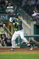 Blake Hunt (12) of the Fort Wayne TinCaps at bat against the West Michigan Whitecaps at Parkview Field on August 5, 2019 in Fort Wayne, Indiana. The TinCaps defeated the Whitecaps 9-3. (Brian Westerholt/Four Seam Images)