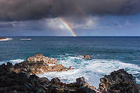 Rainbow over the ocean at Kehena Beach, Pahoa, Big Island.