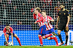 Atletico de Madrid's Angel Correa, Antoine Griezmann and Kevin Gameiro celebrate goal during Champions League 2017/2018, Group C, match 5. November 22,2017. (ALTERPHOTOS/Acero)