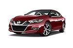 Stock pictures of low aggressive front three quarter view of 2018 Nissan Maxima Platinum 4 Door Sedan Low Aggressive