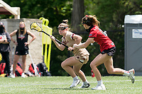 NEWTON, MA - MAY 14: Cassidy Weeks #12 of Boston College on the attack during NCAA Division I Women's Lacrosse Tournament first round game between Fairfield University and Boston College at Newton Campus Lacrosse Field on May 14, 2021 in Newton, Massachusetts.
