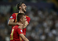 Football: Uefa under 21 Championship 2019 Final, Spain - Germany Dacia Arena, Udine Italy on June 30, 2019.<br /> Spanish Dani Olmo (bottom) celebrates after scoring with his teammate Fabian Ruiz (top) during the Uefa under 21 Championship 2019 football match between Spain and Germany at the Dacia Arena in Udine, Italy on June 30, 2019.<br /> UPDATE IMAGES PRESS/Isabella Bonotto