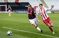 Bolton Wanderers' Eoin Doyle competing with Stevenage's Jack Smith (right) <br /> <br /> Photographer Andrew Kearns/CameraSport<br /> <br /> The EFL Sky Bet League Two - Stevenage v Bolton Wanderers - Saturday 21st November 2020 - Lamex Stadium - Stevenage<br /> <br /> World Copyright © 2020 CameraSport. All rights reserved. 43 Linden Ave. Countesthorpe. Leicester. England. LE8 5PG - Tel: +44 (0) 116 277 4147 - admin@camerasport.com - www.camerasport.com