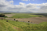 Israel, Jezreel valley. A view of Jezreel valley from Tel Megiddo, a World Heritage Site