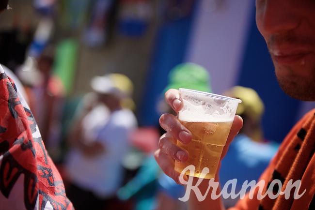 Experiencing the craziness at the Dutch Corner (nr7) up Alpe d'Huez. Mostly drunk fans having a party...<br /> <br /> stage 20: Modane Valfréjus - Alpe d'Huez (111km)<br /> 2015 Tour de France