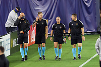 NASHVILLE, TN - SEPTEMBER 23: Referee Tori Penso enters the field with assistant referees Logan Brown and Jeremy Hanson and fourth official Robert Sibiga for warmups before a game between D.C. United and Nashville SC at Nissan Stadium on September 23, 2020 in Nashville, Tennessee.