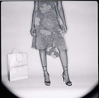 Lower torso of woman with shopping bag<br />